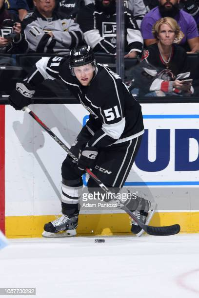 Austin Wagner of the Los Angeles Kings skates with the puck during the third period of the game against the Buffalo Sabres at STAPLES Center on...