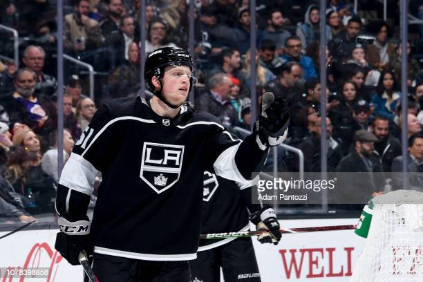 Austin Wagner of the Los Angeles Kings tosses the puck to an official during the second period of the game against the New Jersey Devils at STAPLES...