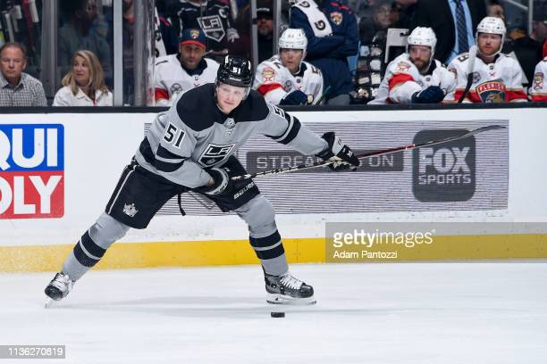 Austin Wagner of the Los Angeles Kings winds up during the first period of the game against the Florida Panthers at STAPLES Center on March 16 2019...