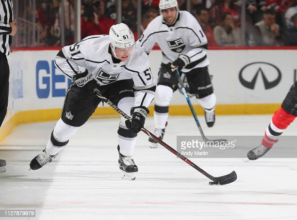 Austin Wagnernof the Los Angeles Kings plays the puck against the New Jersey during the game at Prudential Center on February 5 2019 in Newark New...