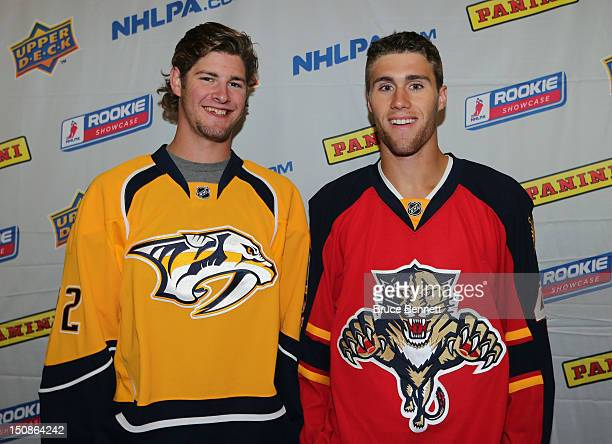 Austin Watson of the Nashville Predators and Quinton Howden of the Florida Panthers meet with the media at the 2012 NHLPA rookie showcase at the...