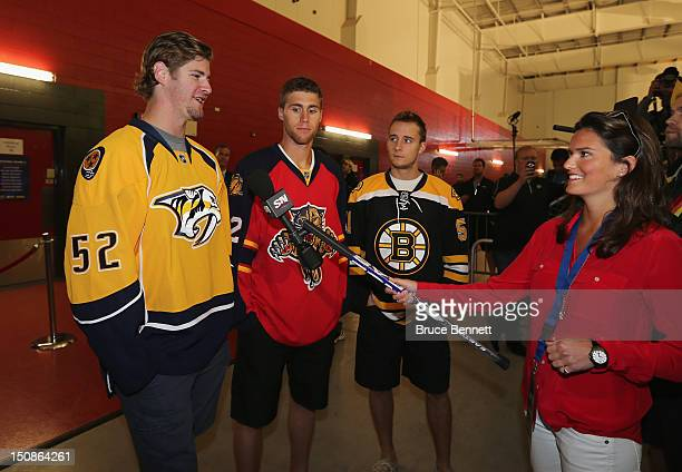 Austin Watson of the Nashville Predators Quinton Howden of the Florida Panthers and Ryan Spooner of the Boston Bruins meet with the media at the 2012...