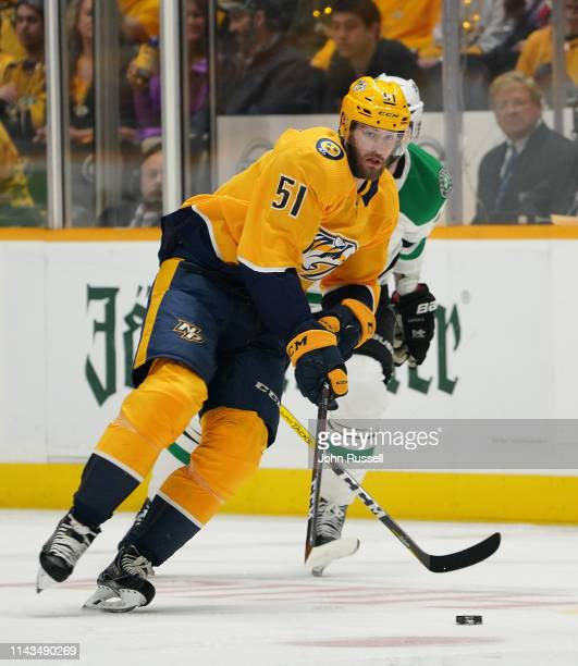 Austin Watson of the Nashville Predators skates against the Dallas Stars in Game Two of the Western Conference First Round during the 2019 NHL...