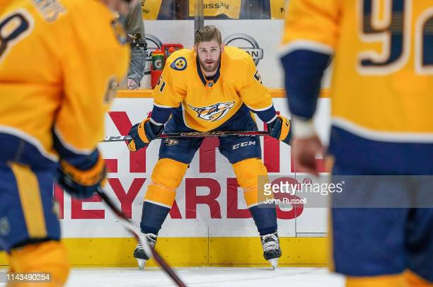 Austin Watson of the Nashville Predators skates in warmups prior to Game Two of the Western Conference First Round against the Dallas Stars during...