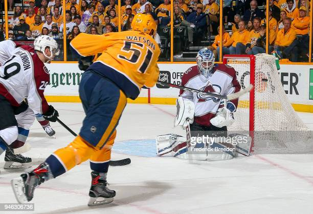 Austin Watson of the Nashville Predators takes a shot wide of goalie Jonathan Bernier of the Colorado Avalanche during the second period in Game Two...