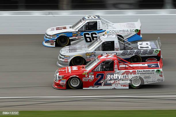 Austin Wayne Self driver of the AM Technical Solutions Toyota races Tommy Joe Martins driver of the Cross Concrete Construction Chevrolet and Jordan...