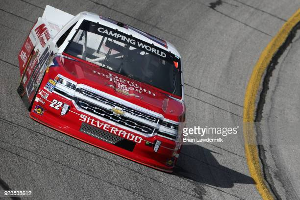 Austin Wayne Self driver of the Don'tMessWithTexas/AMTchnclSltns Chev practices for the NASCAR Camping World Truck Series Active Pest Control 200 at...