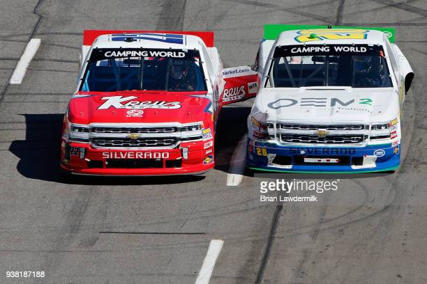 Austin Wayne Self driver of the Kreuz Market/Don't Mess With Texas Chevrolet and Reid Wilson driver of the OEM2 Powered by TruNorth Chevrolet race...