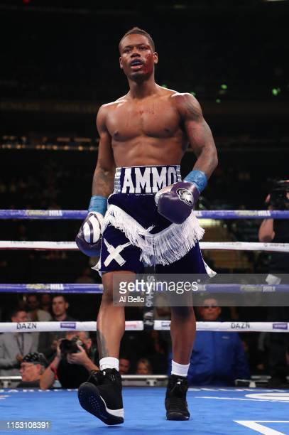 Austin Williams celebrates his first round tko in the first round against Quadeer Jenkins during their middleweight fight at Madison Square Garden on...