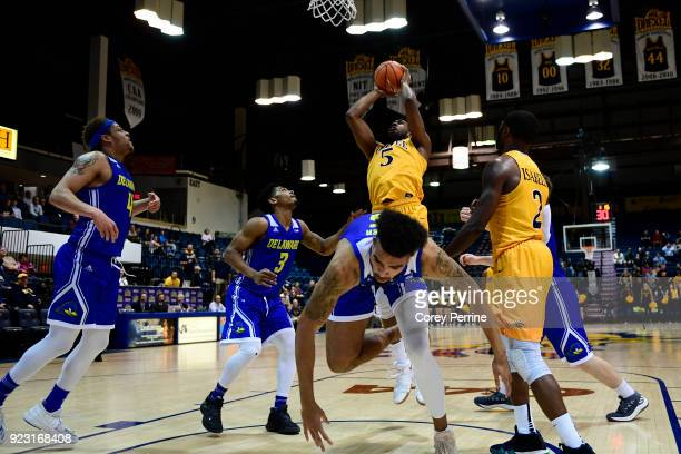 Austin Williams of the Drexel Dragons pulls his team ahead making it 8381 for the first time in the game against the Delaware Fightin Blue Hens...