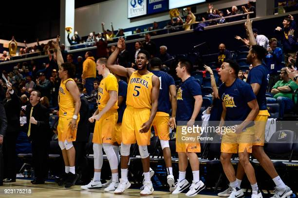 Austin Williams of the Drexel Dragons reacts to a three point basket against the Delaware Fightin Blue Hens during the second half at the Daskalakis...