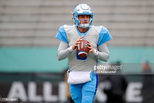 Austin Allen of Salt Lake Stallions participates in warmups prior to an Alliance of American Football game against the Birmingham Iron at Legion...