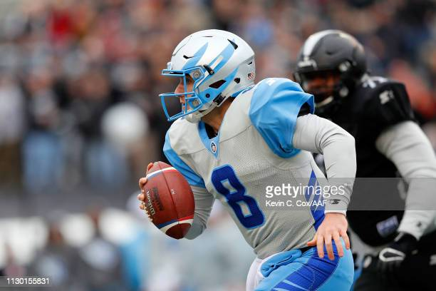 Austin Allen of Salt Lake Stallions runs for yards during an Alliance of American Football game against the Birmingham Iron at Legion Field on...