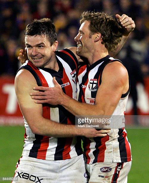 Austinn Jones for the Saints celebrates with Andrew Thompson after winning the AFL First Qualifying Final between the Adelaide Crows and the St Kilda...