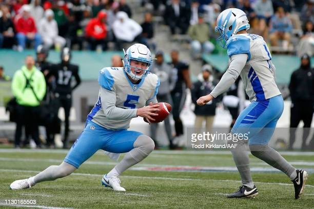 Austin Rehkow of Salt Lake Stallions attempts a fake field goal after a bad snap during an Alliance of American Football game against the Birmingham...