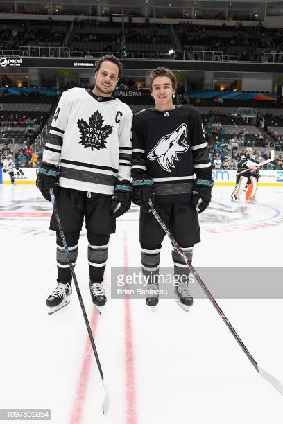Auston Matthews and Clayton Keller the Arizona Coyotes pose together during warm-up prior to the 2019 Honda NHL All-Star Game at SAP Center on...