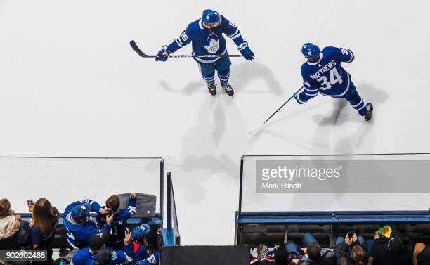 Auston Matthews and Mitchell Marner of the Toronto Maple Leafs leave the ice during warm up prior to game against the San Jose Sharks at the Air...