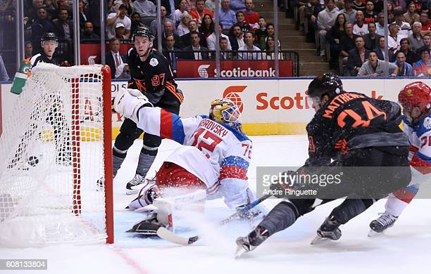 Auston Matthews of Team North America fires the puck on Sergei Bobrovsky of Team Russia to score a first period goal during the World Cup of Hockey...