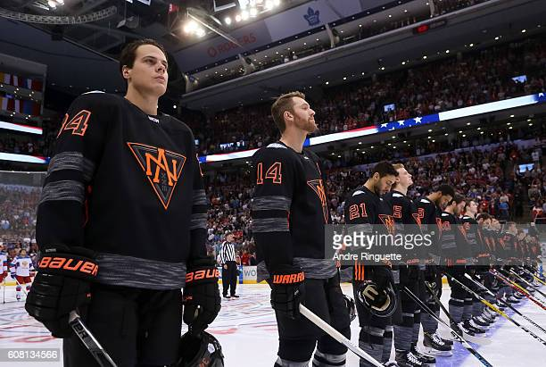 Auston Matthews of Team North America lines up prior to the game against Team Russia during the World Cup of Hockey 2016 at Air Canada Centre on...