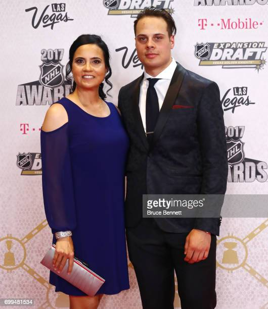 Auston Matthews of the Toronto Maple Leafs and guest attend the 2017 NHL Awards at TMobile Arena on June 21 2017 in Las Vegas Nevada