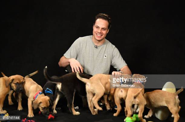 Auston Matthews of the Toronto Maple Leafs attends the Players Puppies event at the Grand Hyatt Hotel on January 26 2018 in Tampa Florida