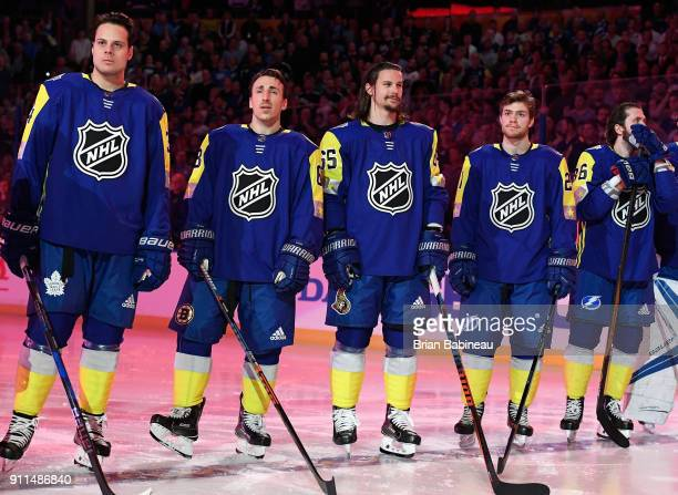 Auston Matthews of the Toronto Maple Leafs, Brad Marchand of the Boston Bruins, Erik Karlsson of the Ottawa Senators, Brayden Point and Nikita...