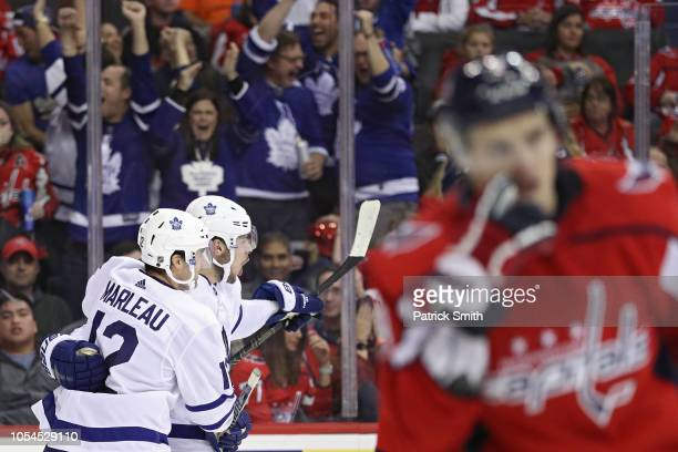 Auston Matthews of the Toronto Maple Leafs celebrates after scoring a goal against the Washington Capitals during the third period at Capital One...