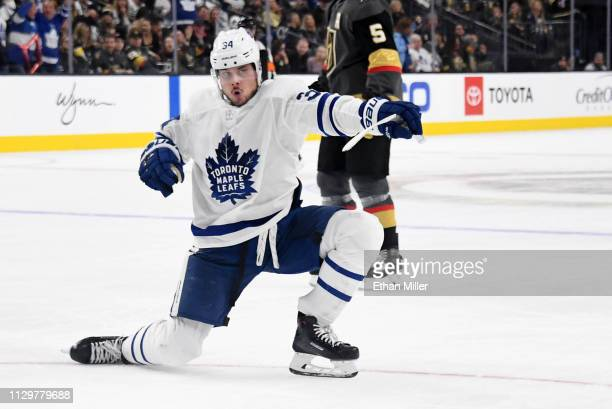 Auston Matthews of the Toronto Maple Leafs celebrates after scoring a thirdperiod goal against the Vegas Golden Knights during their game at TMobile...
