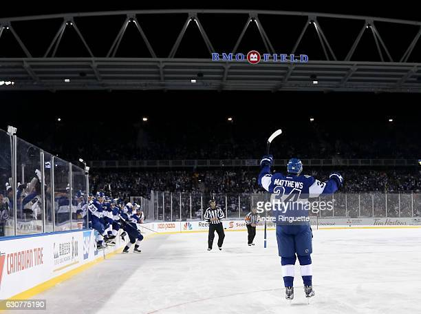 Auston Matthews of the Toronto Maple Leafs celebrates after scoring an overtime goal on the Detroit Red Wings during the 2017 Scotiabank NHL...