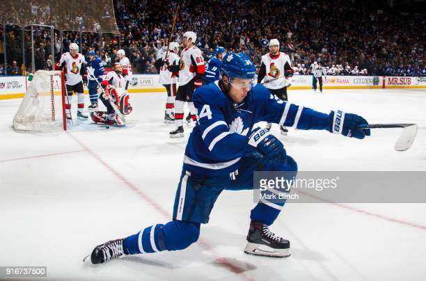 Auston Matthews of the Toronto Maple Leafs celebrates after scoring on the Ottawa Senators during the first period at the Air Canada Centre on...