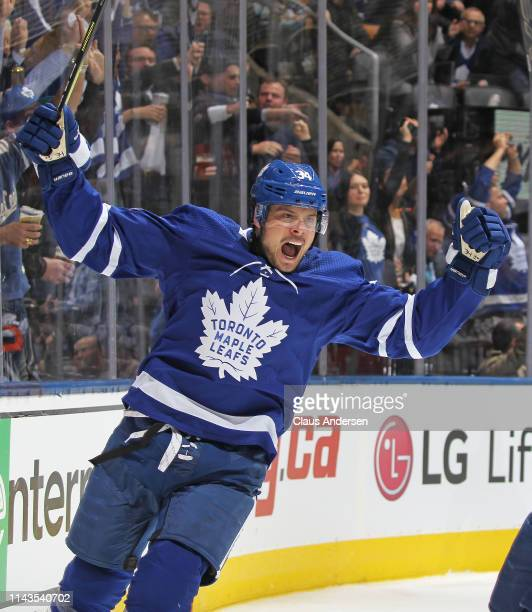 Auston Matthews of the Toronto Maple Leafs celebrates his 1st of two goals against the Boston Bruins in Game Four of the Eastern Conference First...