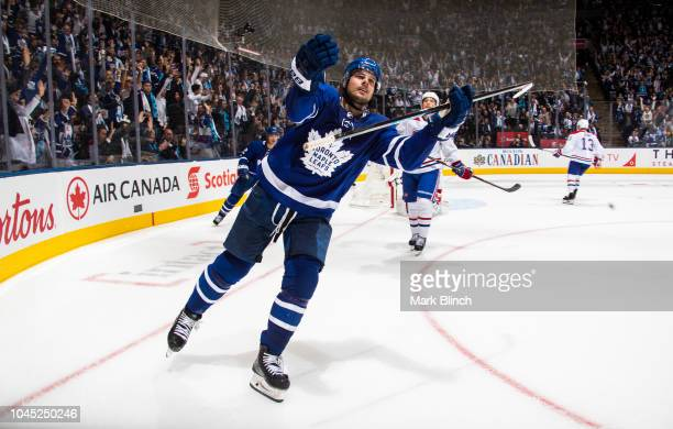 Auston Matthews of the Toronto Maple Leafs celebrates his game winning goal during overtime against the Montreal Canadiens at the Scotiabank Arena on...