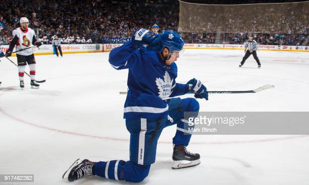 Auston Matthews of the Toronto Maple Leafs celebrates his goal agains the Ottawa Senators during the first period at the Air Canada Centre on...