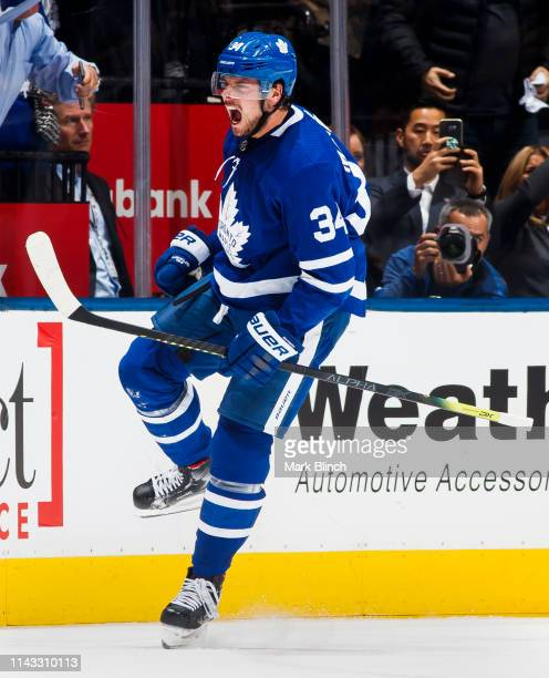 Auston Matthews of the Toronto Maple Leafs celebrates his goal against the Boston Bruins during the second period in Game Three of the Eastern...