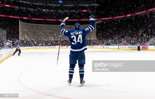 Auston Matthews of the Toronto Maple Leafs celebrates his goal against the New York Rangers during the third period at the Scotiabank Arena on...