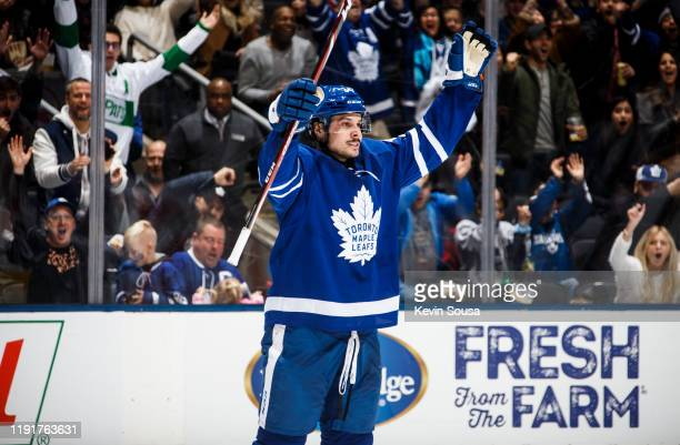 Auston Matthews of the Toronto Maple Leafs celebrates his goal against the New York Islanders during the second period at the Scotiabank Arena on...