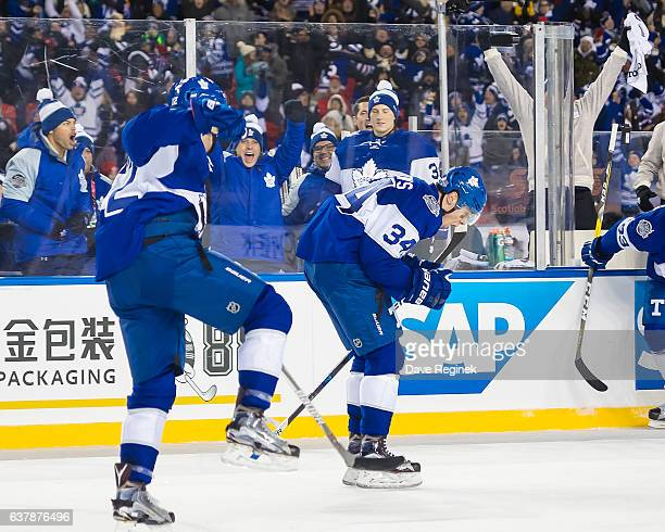 Auston Matthews of the Toronto Maple Leafs celebrates his OT game winning goal on Jared Coreau of the Detroit Red Wings during the 2017 Scotiabank...