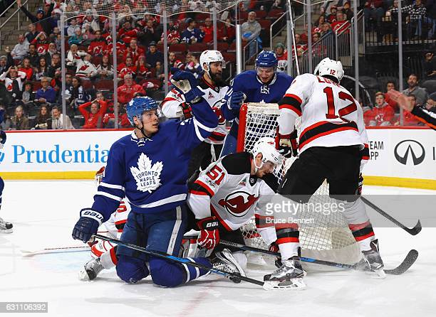 Auston Matthews of the Toronto Maple Leafs celebrates his powerplay goal at 1440 of the first period against the New Jersey Devils at the Prudential...