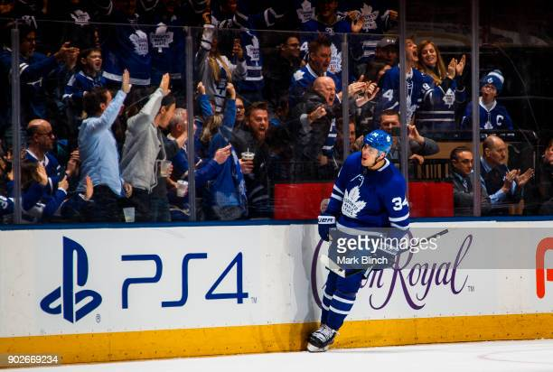 Auston Matthews of the Toronto Maple Leafs celebrates his shootout goal against the Vancouver Canucks at the Air Canada Centre on January 6 2018 in...