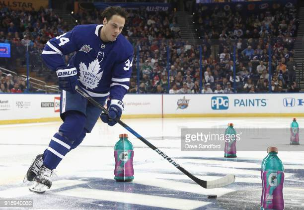 Auston Matthews of the Toronto Maple Leafs competes in the Gatorade NHL Puck Control Relay during 2018 GEICO NHL AllStar Skills Competition at Amalie...