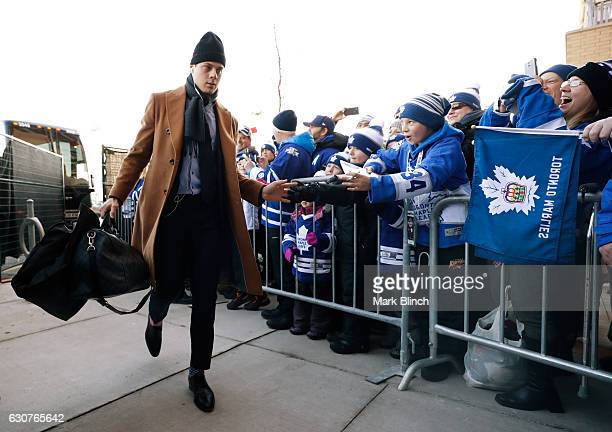 Auston Matthews of the Toronto Maple Leafs during the 2017 Scotiabank NHL Centennial Classic game at Exhibition Stadium on January 1 2017 in Toronto...