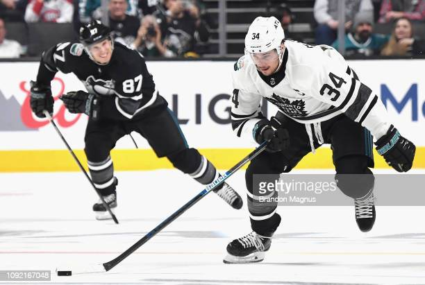 Auston Matthews of the Toronto Maple Leafs is chased by Sidney Crosby of the Pittsburgh Penguins during the 2019 Honda NHL AllStar Game at SAP Center...