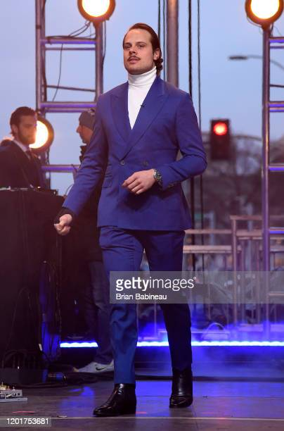 Auston Matthews of the Toronto Maple Leafs is introduced onstage prior to the OAR performance at Enterprise Center as part of the 2020 NHL AllStar...