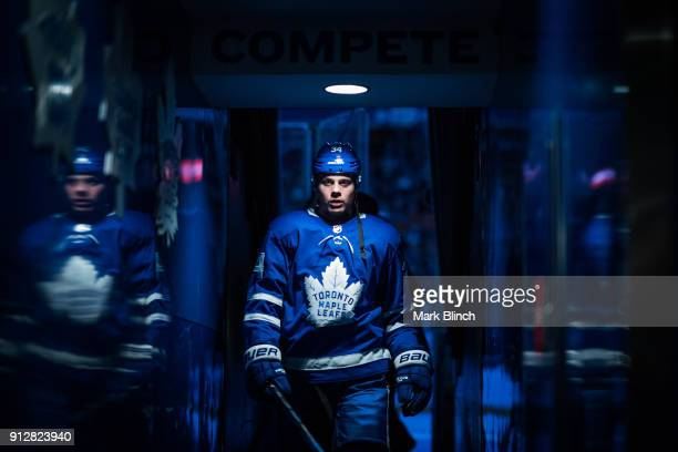 Auston Matthews of the Toronto Maple Leafs leaves the ice after warmup before facing the New York Islanders at the Air Canada Centre on January 31...