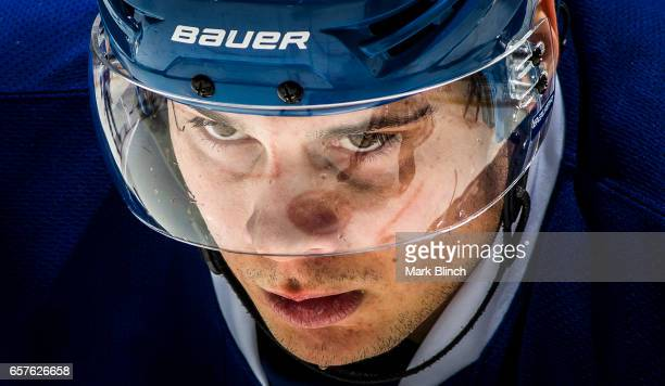 Auston Matthews of the Toronto Maple Leafs looks on before a face off against the New Jersey Devils during the third period at the Air Canada Centre...