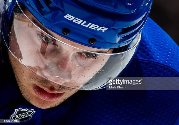 Auston Matthews of the Toronto Maple Leafs looks on before a face off against the Colorado Avalanche during the first period at the Air Canada Centre...