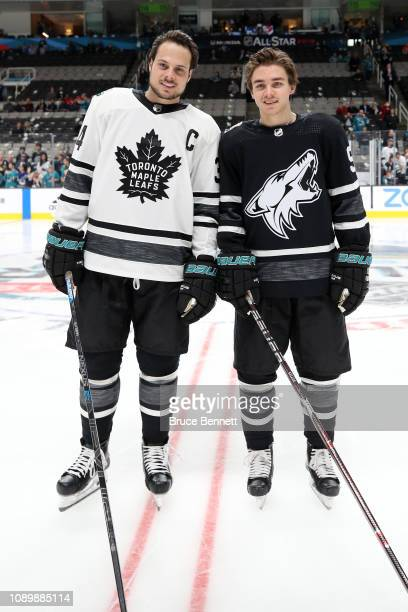 Auston Matthews of the Toronto Maple Leafs poses with Clayton Keller of the Arizona Coyotes pose prior to the 2019 Honda NHL All-Star Game at SAP...