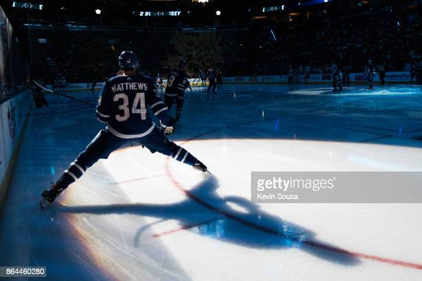Auston Matthews of the Toronto Maple Leafs prior to an NHL game against the Detroit Red Wings at the Air Canada Centre on October 18 2017 in Toronto...