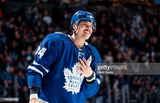 Auston Matthews of the Toronto Maple Leafs reacts after receiving a star of the game after defeating the Anaheim Ducks at the Scotiabank Arena on...
