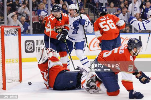 Auston Matthews of the Toronto Maple Leafs reacts after scoring a goal against the Florida Panthers during the first period at BB&T Center on...